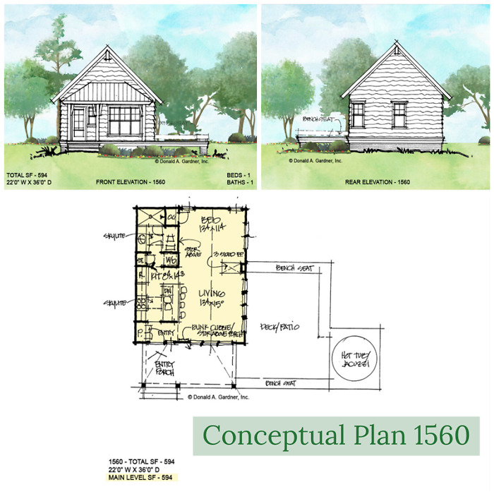 House plan 1560 is an income producing small house plan.