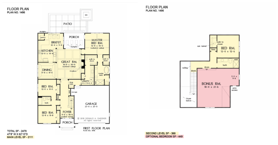 The Jenkins house plan 1496 has direct access from the master closet to the utility room.