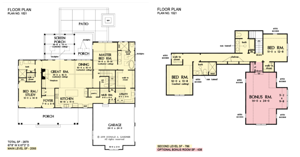 The Estelle house plan 1521 has direct access from the master closet to the utility room.