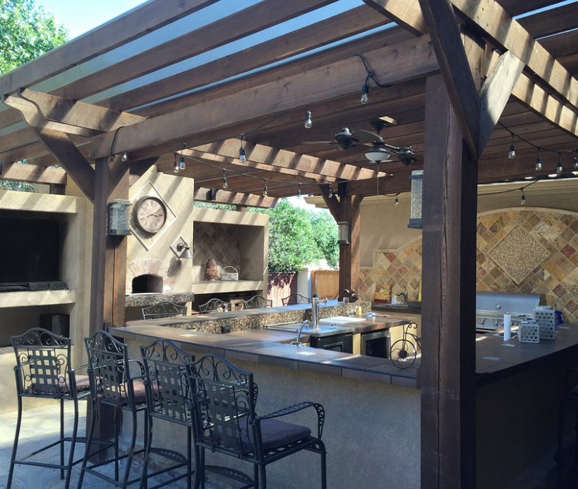Outdoor living trends include an outdoor kitchen.