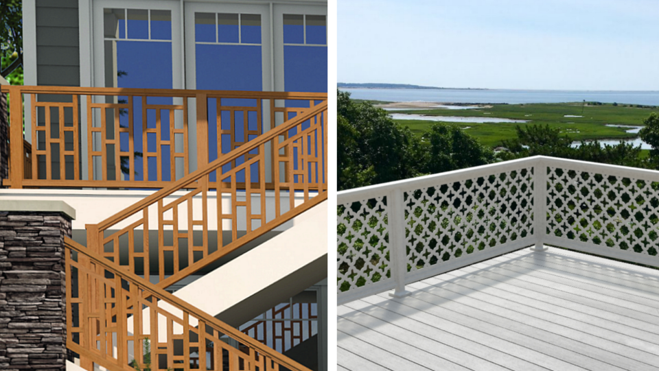 Outdoor living trends include deck and porch railings.