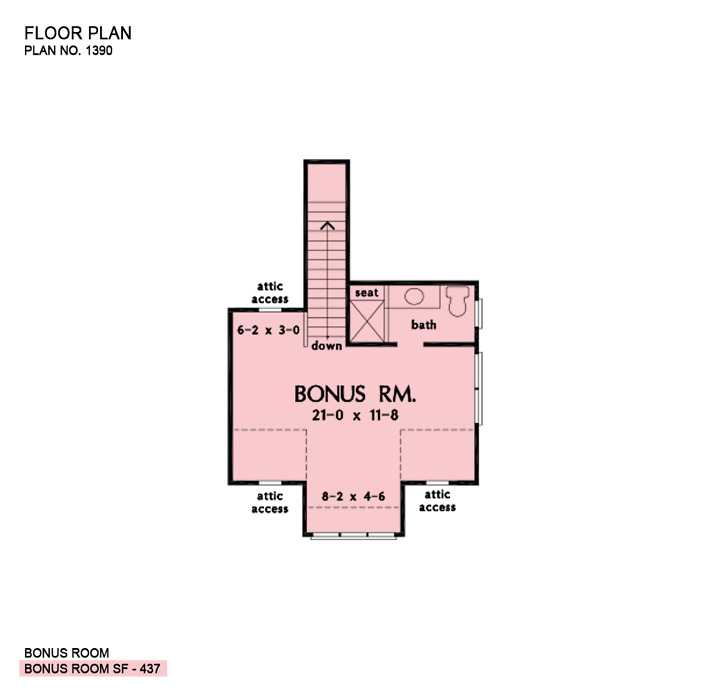 Bonus room of The Stanley house plan 1390.