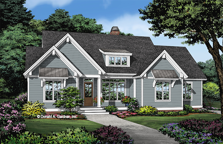 Front rendering of The Geller house plan 1499.