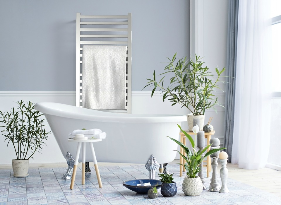 Amba heated towel racks are a luxury bathroom trend.