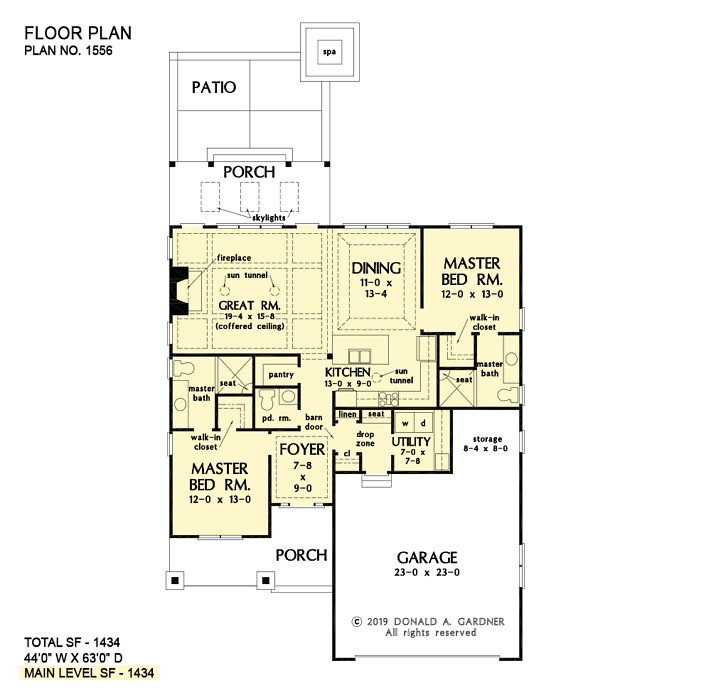 First floor of The Artemis house plan 1556.