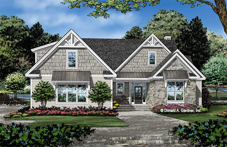 Front rendering of The Nigel house plan 1542.