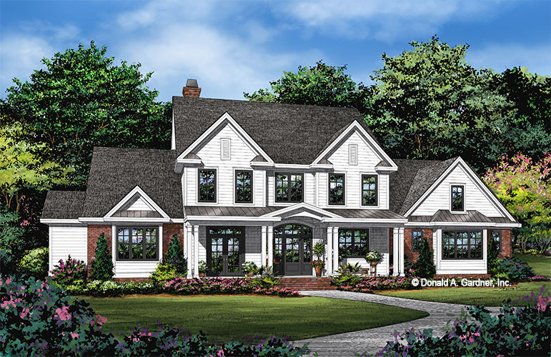 Front rendering of The Lorenzo house plan 6005.