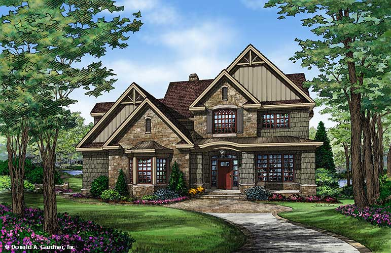 Front rendering of The Braxton Plan 1343 R2R.