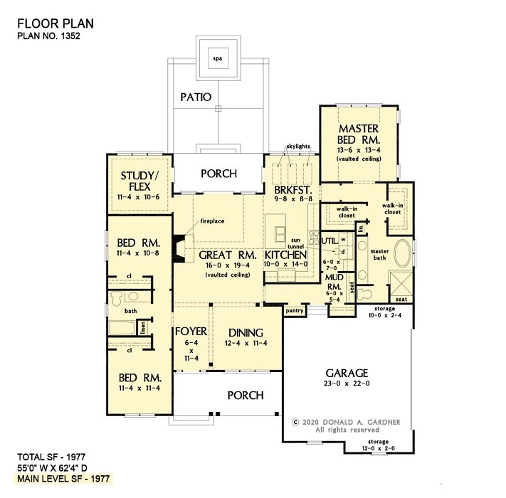 First floor of The Adele house plan 1352.