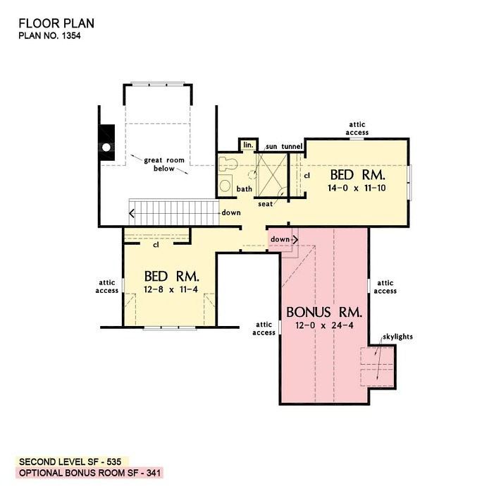 Second floor of The Delphine house plan 1354.