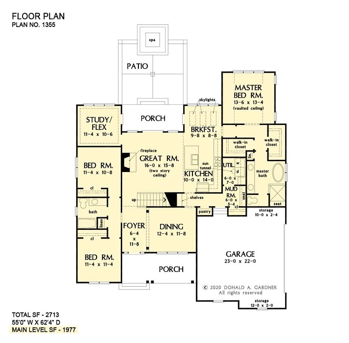 First floor of The Josephine house plan 1355!