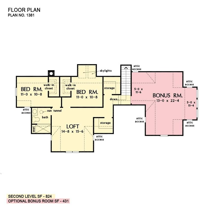 Second floor of The Karina house plan 1381.