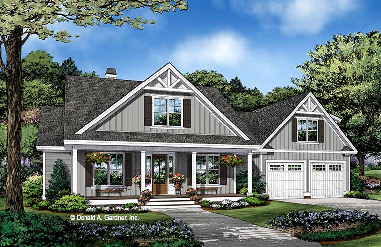 Front rendering of The Trevor house plan 1533.