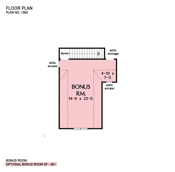 Bonus room of The Rogers house plan 1383.