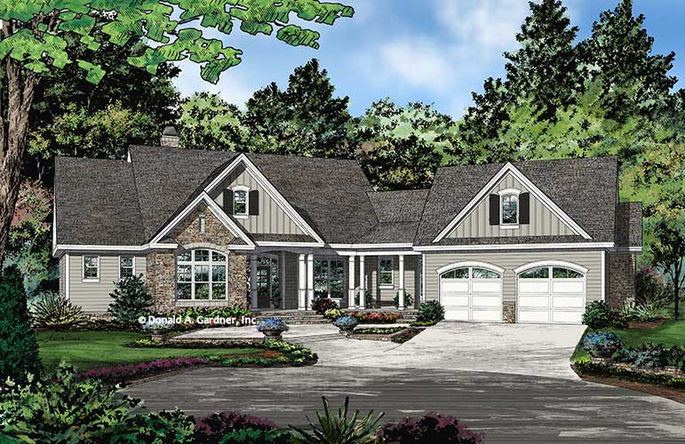 Front rendering of The Atticus plan 1429.