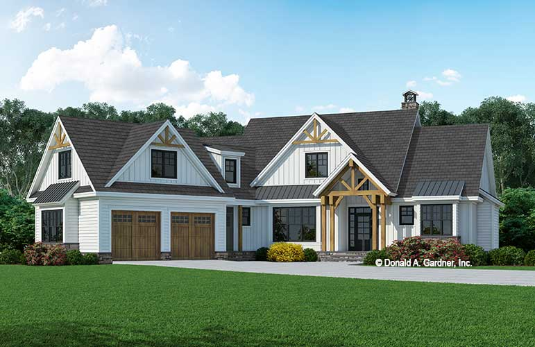 Front rendering of The Roerig house plan 1584.