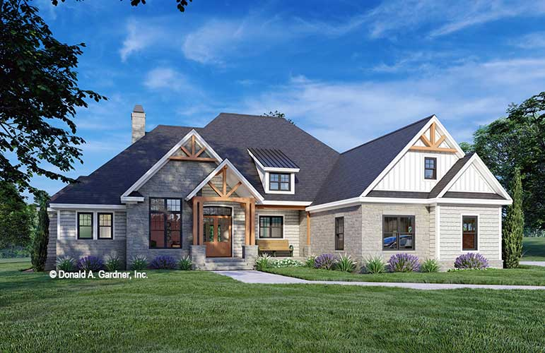 Front rendering of The Baxter house plan 1536.