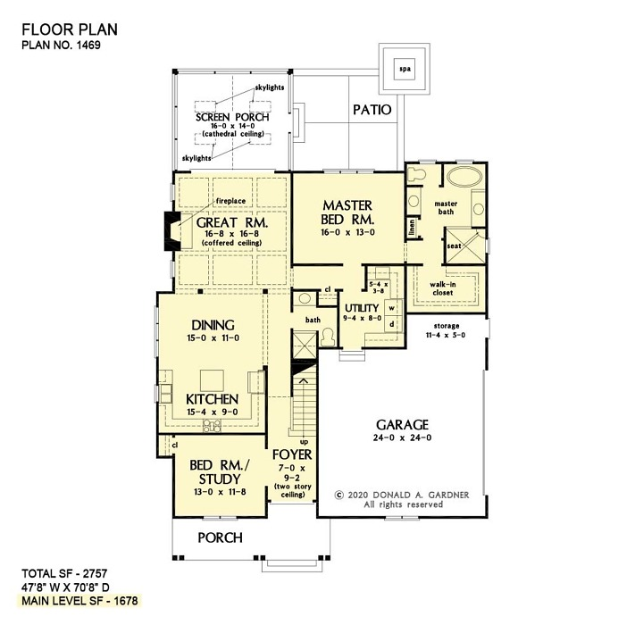 First floor of The Fiona house plan 1469.