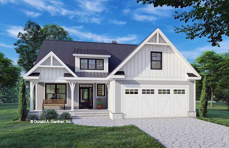 Front rendering of The Calvin house plan 1604.
