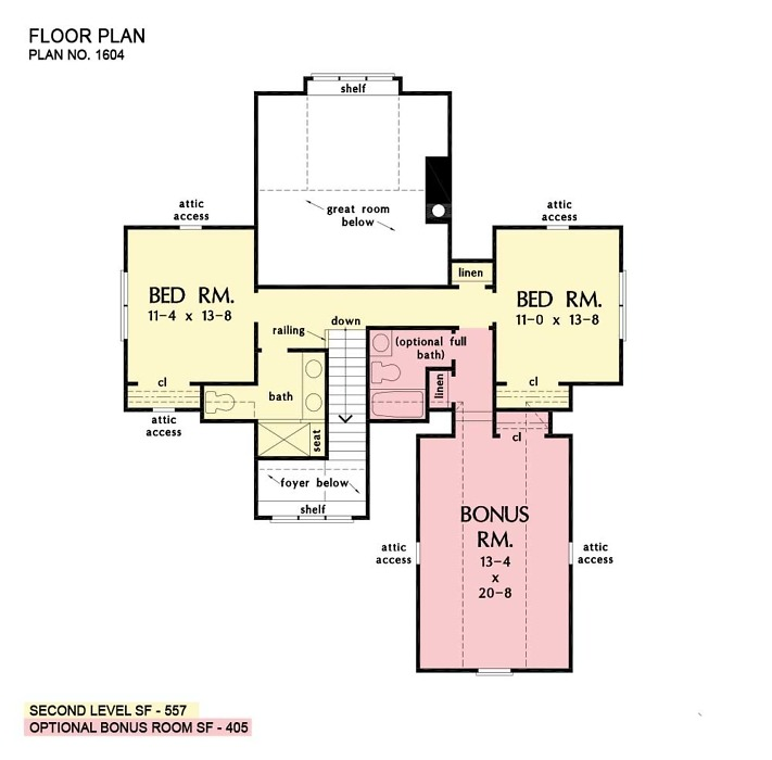 Second floor of The Calvin house plan 1604.