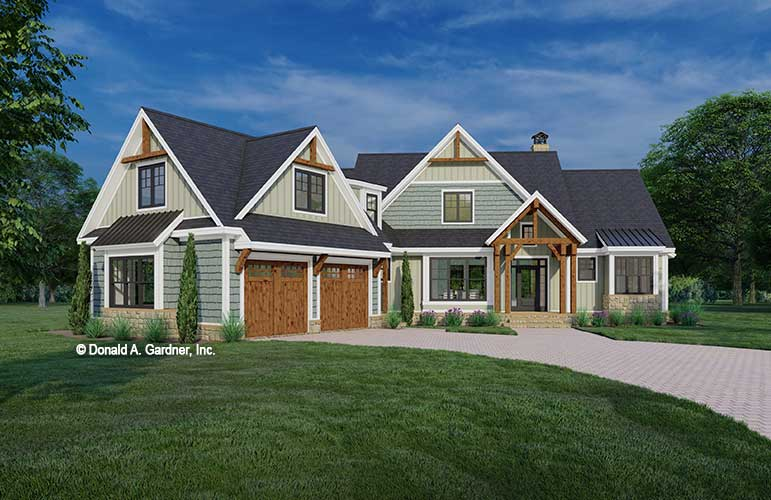 Front rendering of The Lorelai house plan 1553.