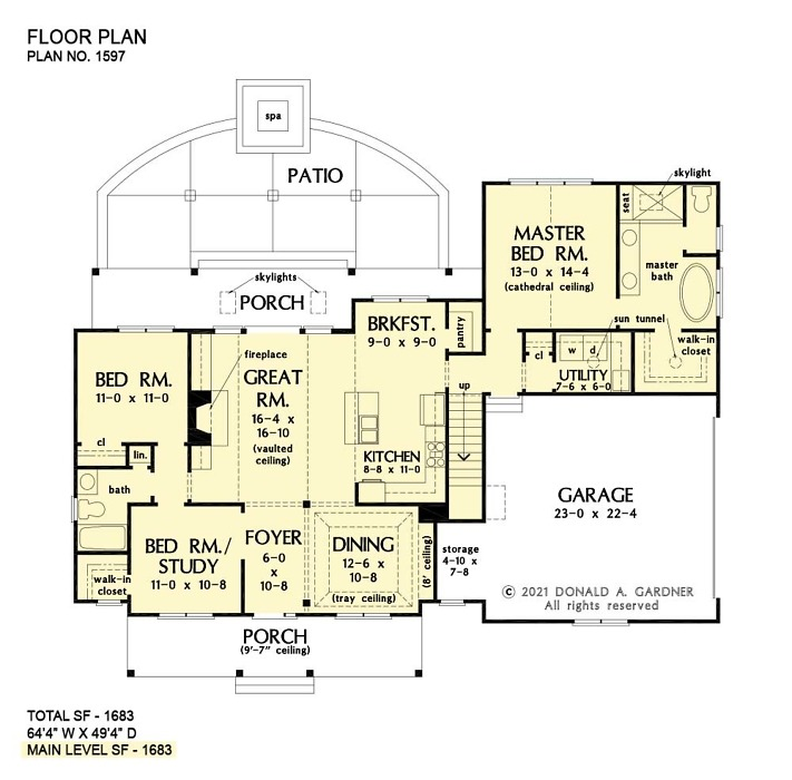First floor of The Marisa house plan 1597.
