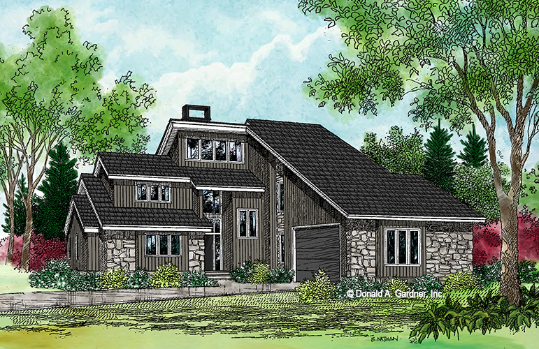 Front rendering of The Sundance plan 219.