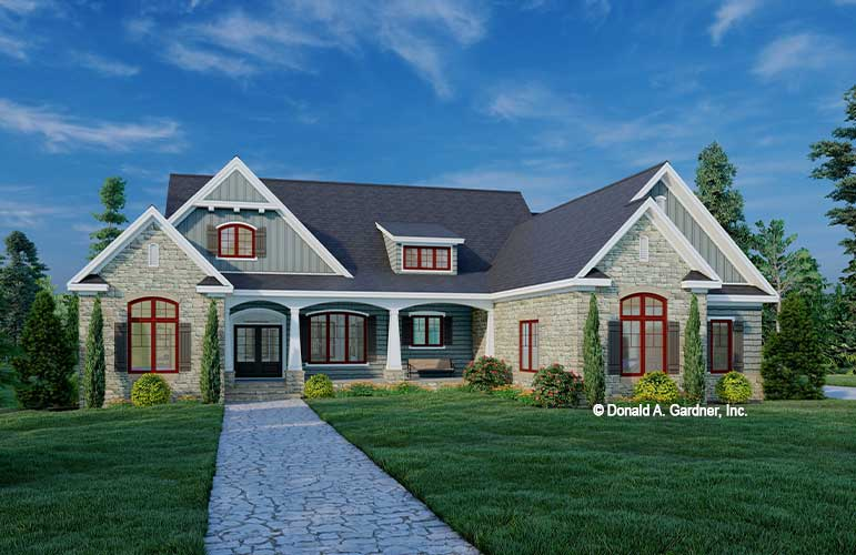Front rendering of The Curtis house plan 1535.